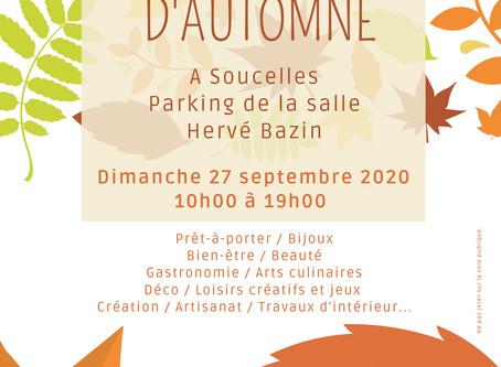 Je serai présente au marché d'automne à Soucelles le dimanche 27 septembre 2020.