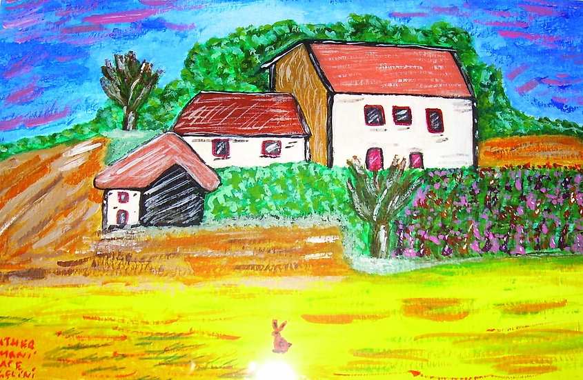 Debeneham cottages,Original water colour,by hrca