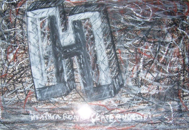 H for happy,Original charcoal/pencil,by hrca