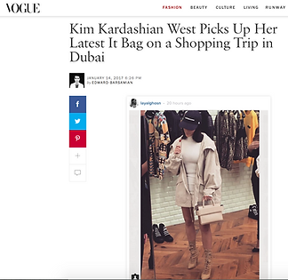 Kim Kardashian in Dubai in Vogue carrying a Horizon Hangbag from Givenchy SS17 collection