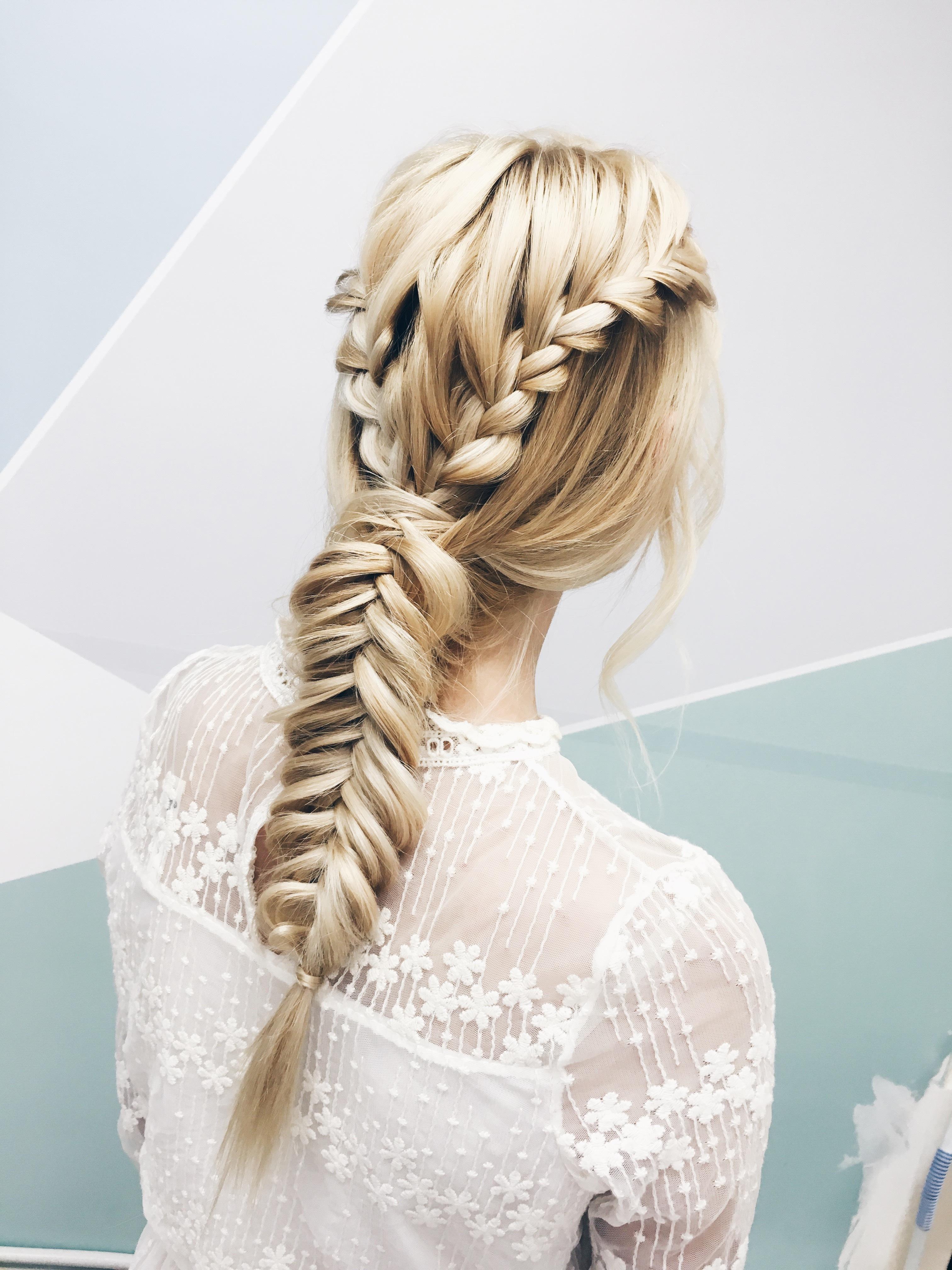 Blonde hair color fishtail braids