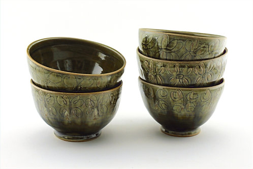 Bowls with Dogwood Inspired Pattern