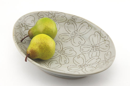 Oval Serving Dish with Dogwood Pattern