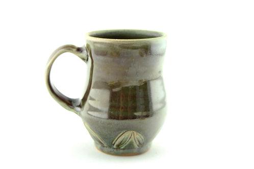 Green Mug with Carved Design