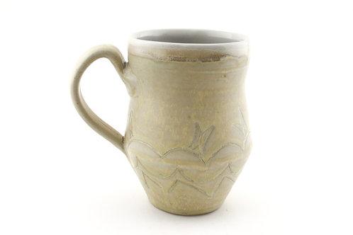 Mug with Wheat Colored Glaze and line design