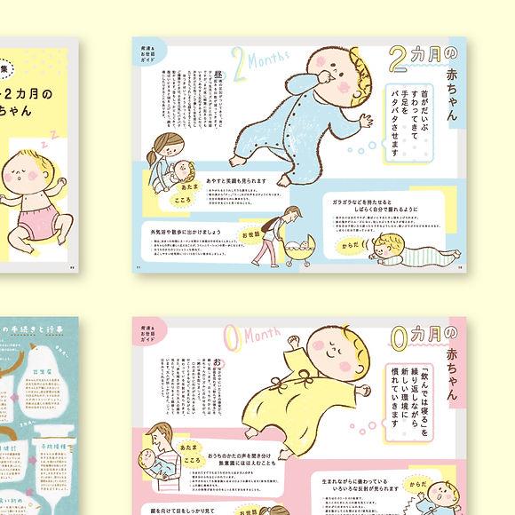 こどもちゃれんじベビー0〜2か月の赤ちゃん 発達&お世話ガイド誌面デザイン