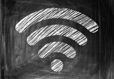 Wireless Symbol Drawn on a Blackboard