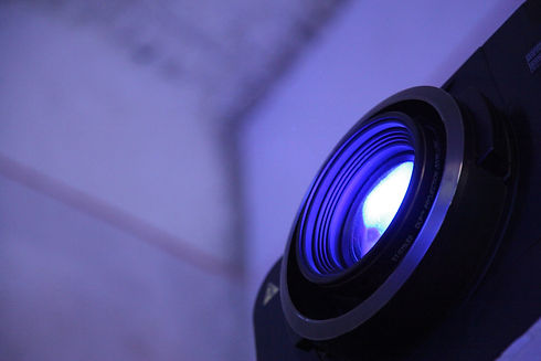 projector lens with beam of light active