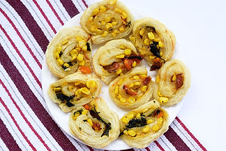 food photography; puff pastry snack with vegetables