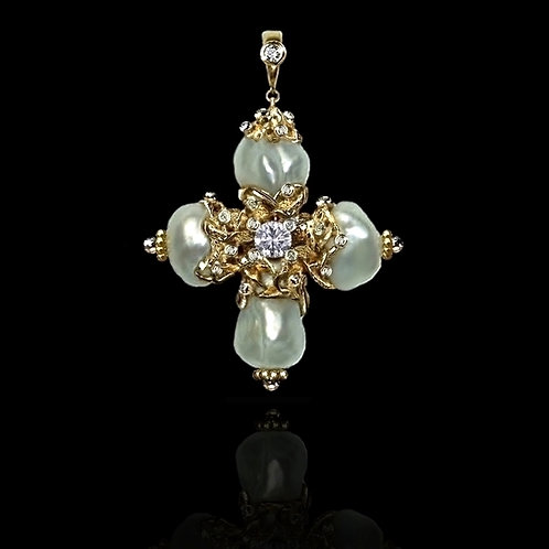 Croix De Perles Pendant