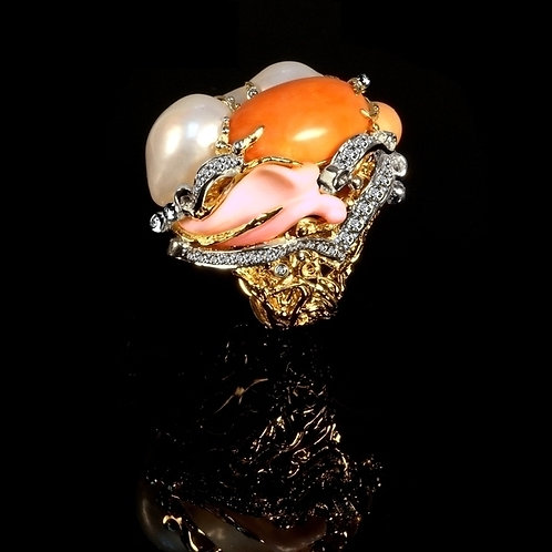 Coral Angel Cluster Cocktail Ring