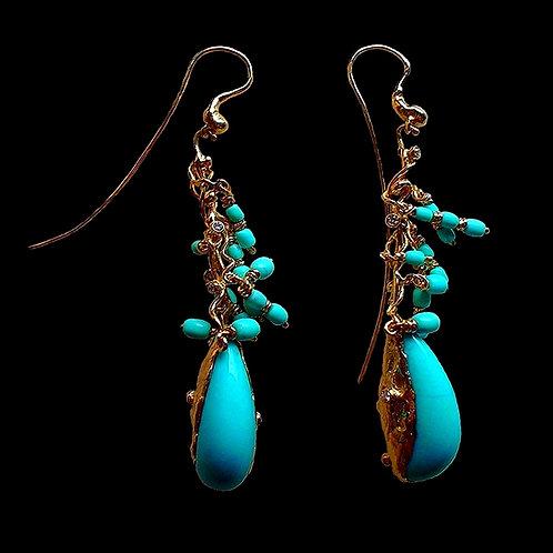 Turquoise Tree Earrings