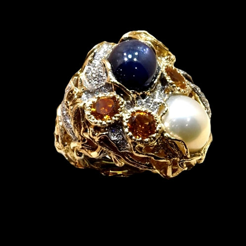 Sapphire and Pearl Duo Cocktail Ring