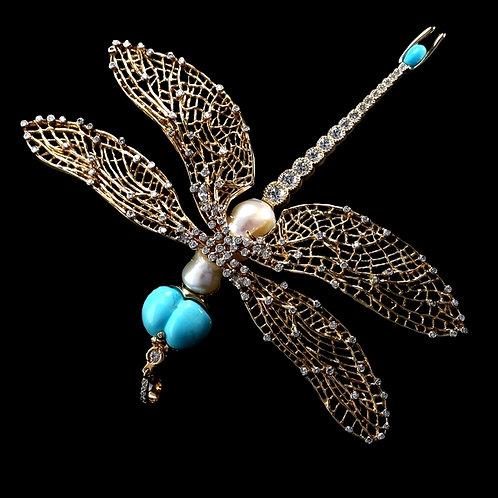 Turquoise Eyes Dragonfly Pendant