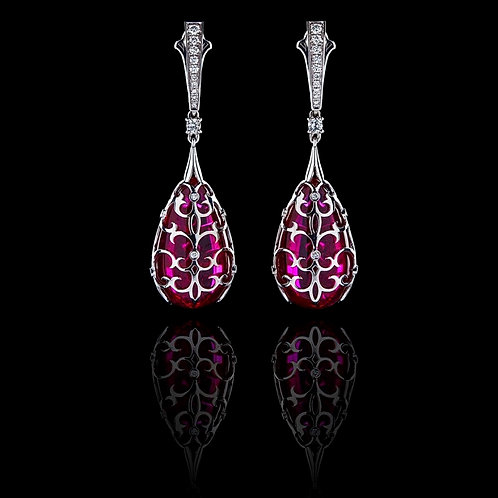Gothic Red Corondum Earrings