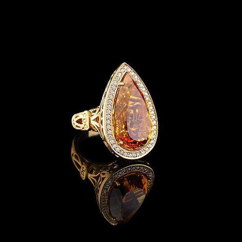Classic Citrine Coctail Ring