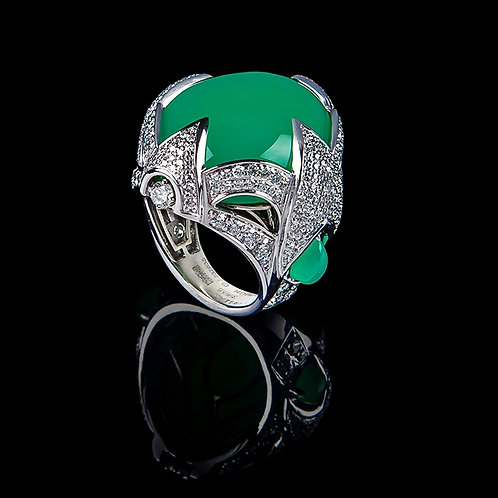 Chrysopraz Coctail Ring