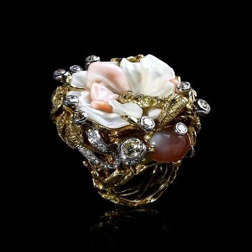 Coral Swan Ring