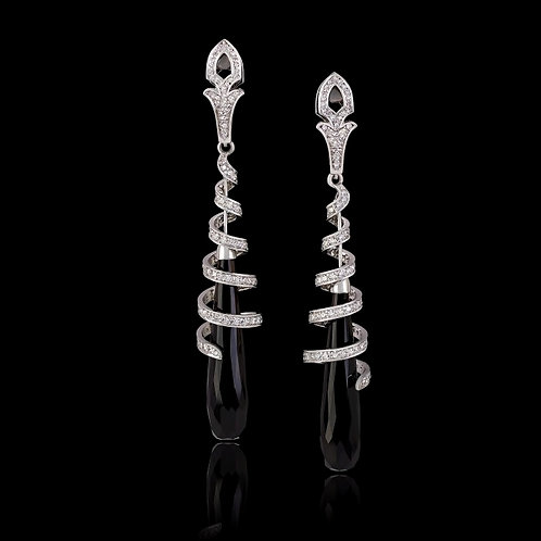Black Morion Cabochon Earrings