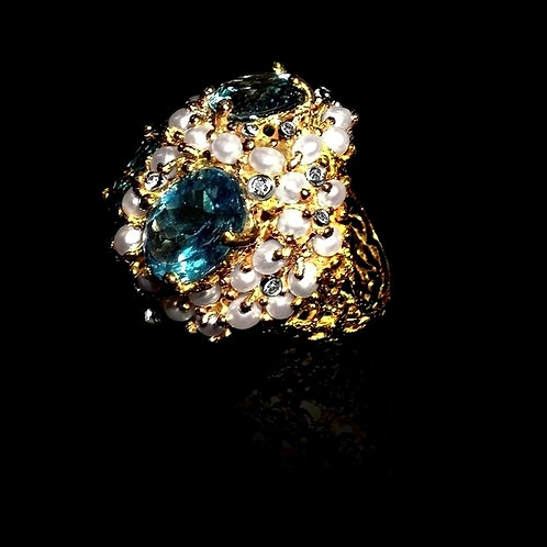 Aquamarine and Pearl Magnum Ring