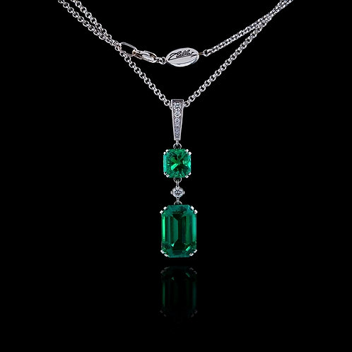 Classic Two Emeralds Pendant