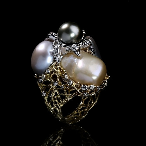 Pearls Garden Cocktail Ring