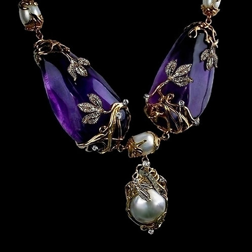 Art Nouveau Amethyst and Peral Pendant