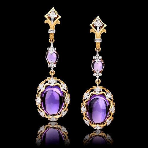 Victorian Style Amethyst Earrings