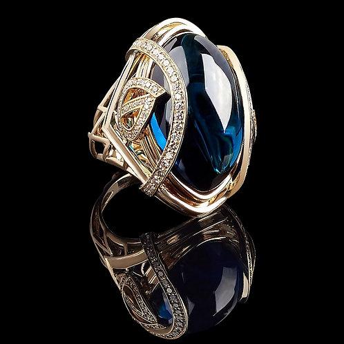 Cosmic Blue Topaz Cobachon Ring