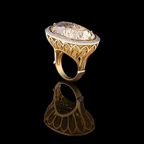 Magnum Yellow Topaz Coctail Ring