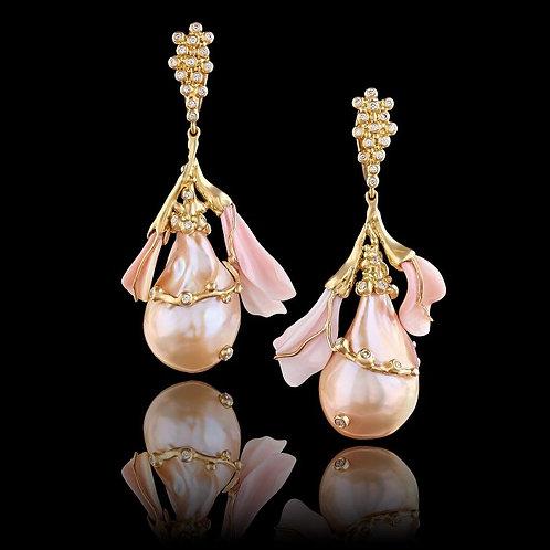 Dancing Pink Pearls Earrings