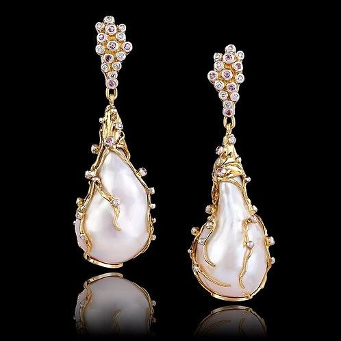 Italian Stucco Pearl Art Nouveau Earrings