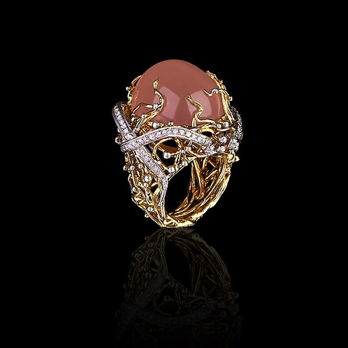 Pink Quartz Cabochon Italian Stucco Ring