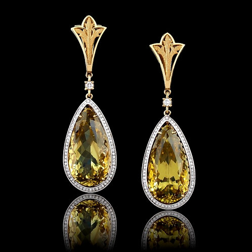 Classic Pear Shaped Citrine Earrings