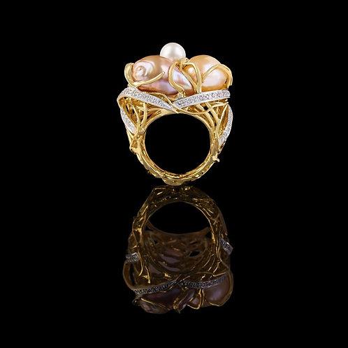 Magnum Pearls Italian Stucco Ring