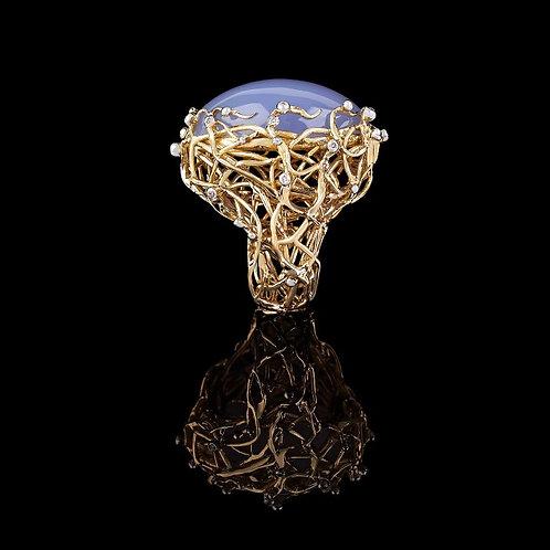 Blue Cobachon Agathe Italian Stucco Ring