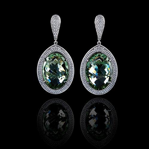 Intense Green Classic Prasiolite Earrings