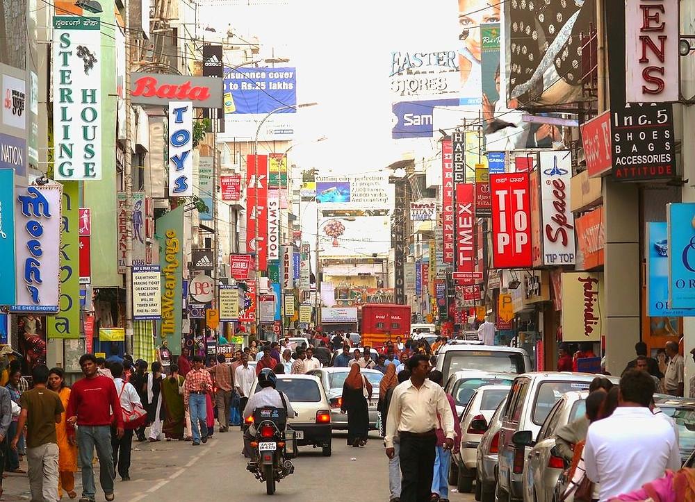 ถนนคนเดิน ช็อปปิ้ง แหล่งเที่ยวอินเดีย บังกาลอร์ เที่ยวบังกาลอร์ แหล่งท่องเที่ยว แหล่งเสียเงิน