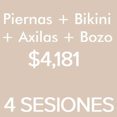 Piernas + Axilas + Bikini + Bozo (4 Sesiones)