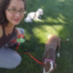 Dog trainer Elisa Rivera and dogs play in the grass