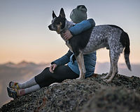 Woman hugging her cattle dog while enjoying a mountain view
