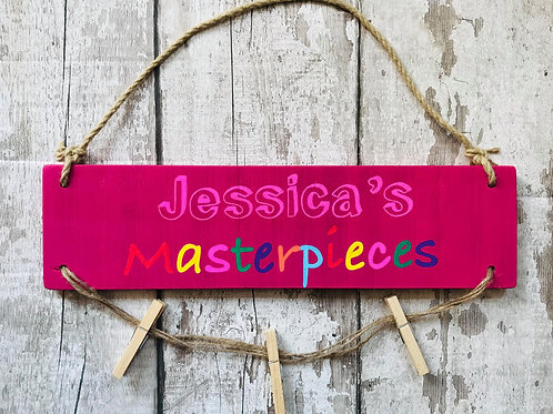 Small personalised hanging wooden masterpieces