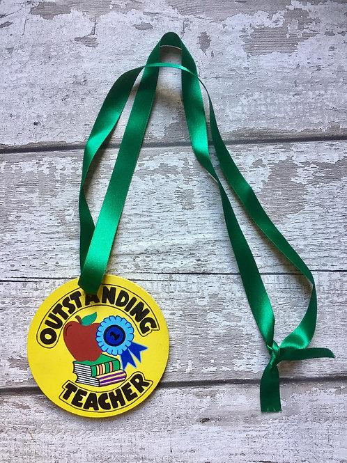 'outstanding teacher' wooden medallion