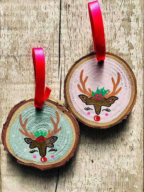 Childs personalised reindeer tree ornament