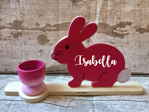 Personalised wooden Easter bunny with egg cup
