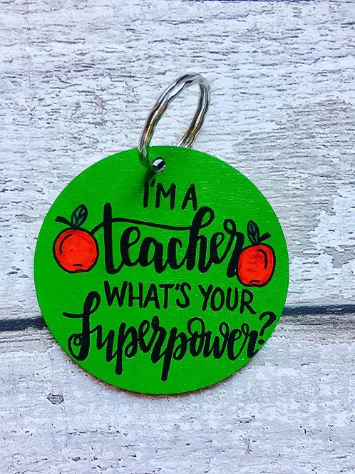 Personalised wooden teacher key rings