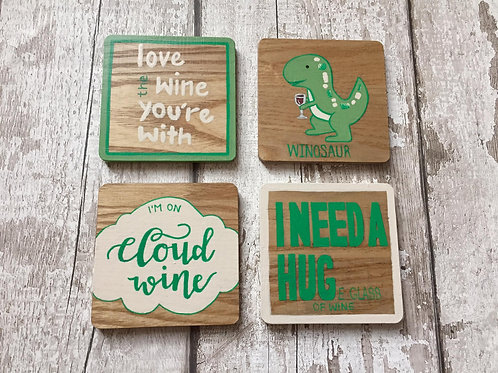 Personalised wooden coasters x4