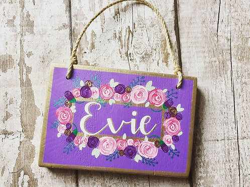 Bespoke wooden A5 girl name plaques