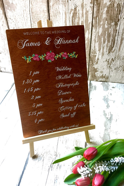 A4 wedding 'order of service' wooden sign