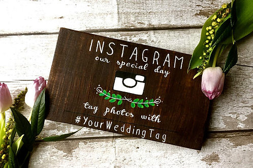 Rustic wedding 'hashtag' instagram sign